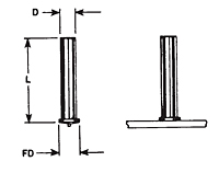 Small Flanged - No Thread Capacitor Discharge (CD) Studs